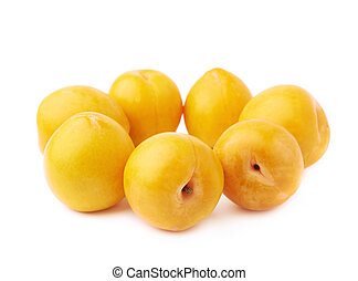Yellow plums composition isolated - Yellow mirabelle plums...