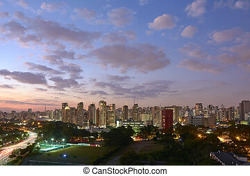 Sao Paulo city at nightfall, Brazil. Ibirapuera Park