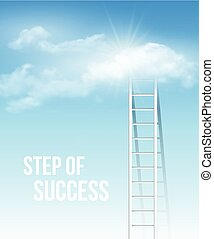 Cloud stair, the way to success in blue sky. Vector...
