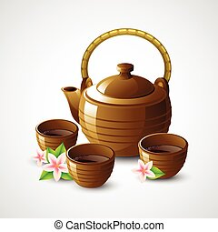 Teapot and cups. Vector illustration EPS 10