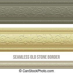 Set of seamless borders stone marble. Vector illustration