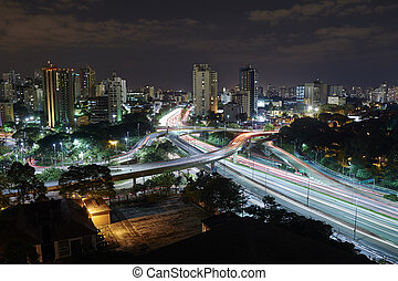 Sao Paulo city at night, Brazil.Avenue near the Ibirapuera...