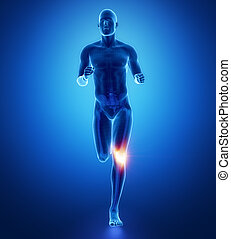 KNEE - running man leg scan in blue