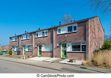terraced houses in the netherlands - row of residential...
