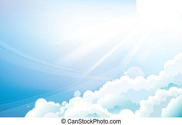 sky - drawing of beautiful blue sky ,white cloud and sun
