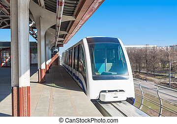 Monorail. The train leaves the station
