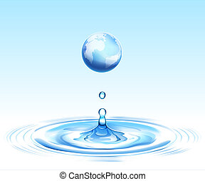 earth and ripple - drawing of beautiful blue earth on the...