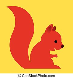 Happy little red cartoon squirrel with a long bushy tail...