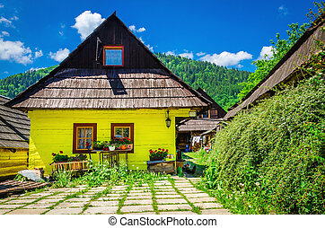 Wooden hut in traditional village, Slovakia