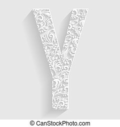 Letter Y Vector Floral Invitation cards Decorative Font