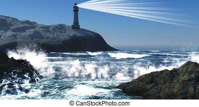 Moorehead Lighthouse - A lighthouse on a steep cliff sends...