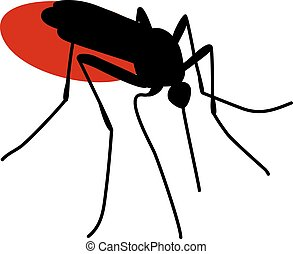 mosquito full of blood - Silhouette of biting mosquito full...