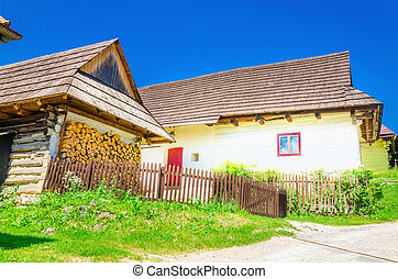Wooden huts in typical village , Slovakia