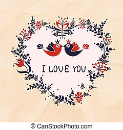 Beautiful card with a love of birds