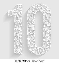 Number 10. Vector Floral Invitation cards Decorative Font