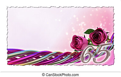 birthday concept with pink roses and sparks - sixty-fifth...