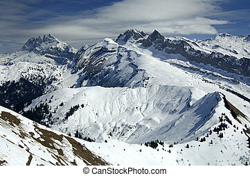 Alpine landscape in winter, France - Snow-covered alpine...