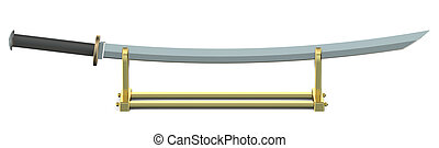 Japanese sword Katana on golden stand isolated on white...