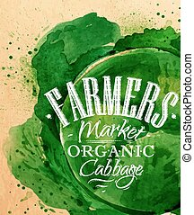Poster farm cabbage - Poster watercolor cabbage lettering...