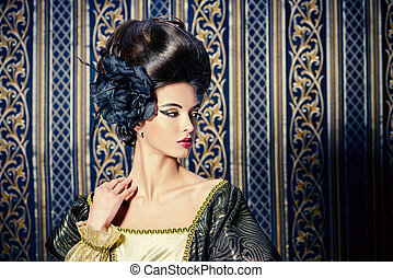 updo hairstyle - Baroque Style - beautiful young woman in...