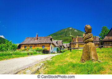 traditional village in Slovakia, carved sculpture