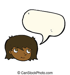 cartoon female face with speech bubble