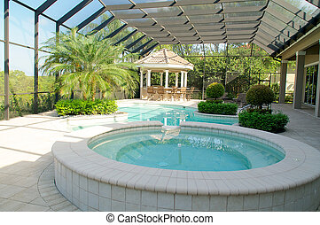 Screened in pool with spa