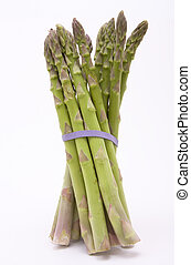 Jaunty Asparagus - Asparagus spears with purple rubber bands...
