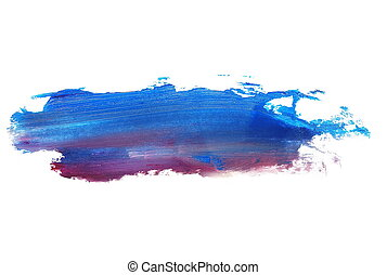 photo red blue grunge brush strokes oil paint isolated on...