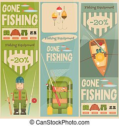Fishing Mini Vertical Posters Set: Fisherman and Equipment...