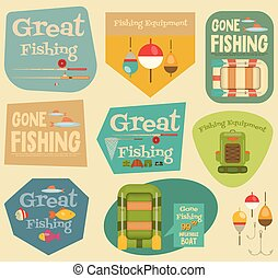 Fishing Stickers Set: Equipment for Fishing Labels...