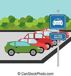 Car design - Car design over landscape background, vector...