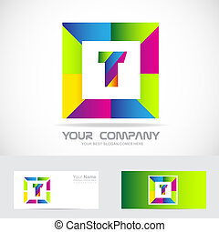 Letter T square logo colors - Vector company logo icon...