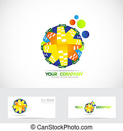 Colored globe logo abstract - Vector company logo icon...