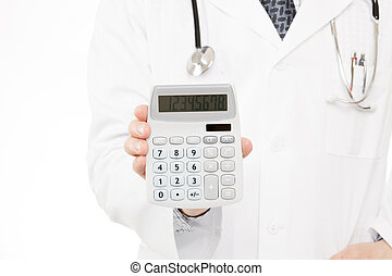 Doctor holding calculator - health care concept - Doctor...