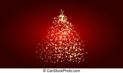 Christmas tree with light on red background (loop)
