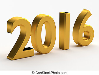 2016 new year - Gold numbers of New Year 2016 with shadow