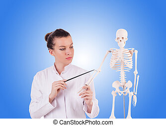 Doctor with skeleton against gradient