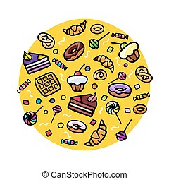 Various Sweets - Collection of various hand-drawn sweets,...