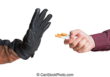 Man refused the offer of a cigarette isolated