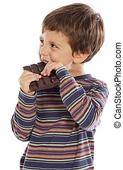 child eating chocolate  a over white background