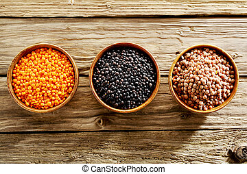Bowls of assorted dried lentils