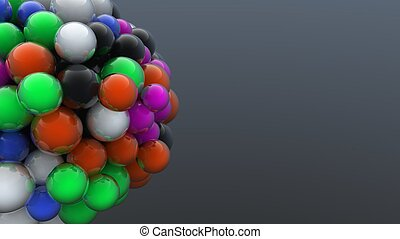 Digitally generated cluster of colorful bubbles