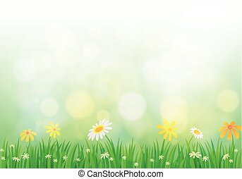 Spring background with light
