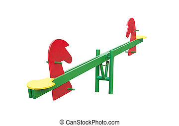 see saw - Illustration of isolated see saw on white...