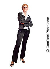 Business woman - redhead Business woman wearing black suit...