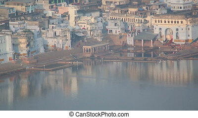 Pushkar lake - Pushkar Lake, in the light of the setting...