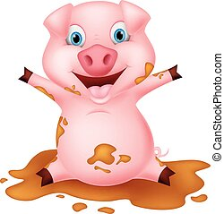 Pig cartoon playing with mud