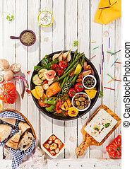 Platter of Grilled Vegetables on Picnic Table