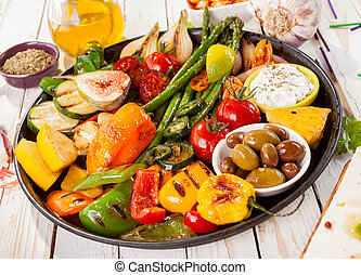 Tray of Grilled Vegetables on Picnic Table